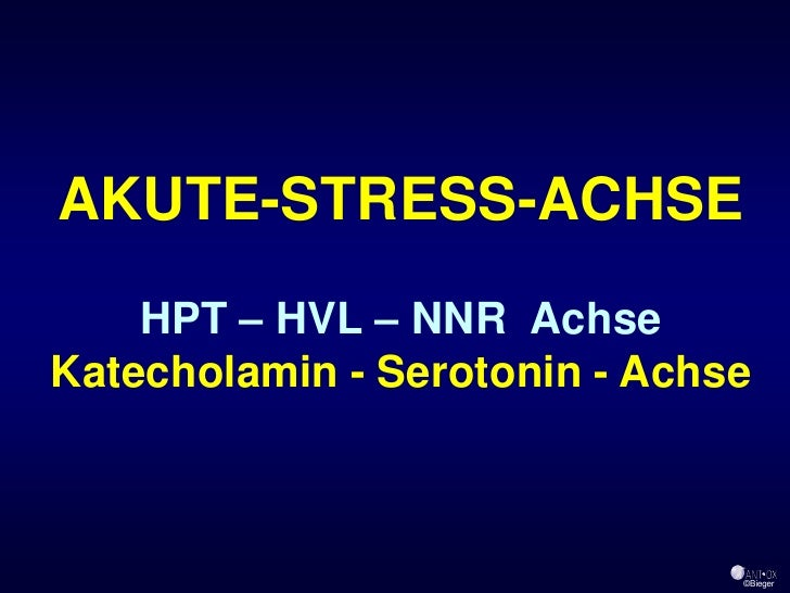 AKUTE-STRESS-ACHSE     HPT – HVL – NNR Achse Katecholamin - Serotonin - Achse                                   ©Bieger