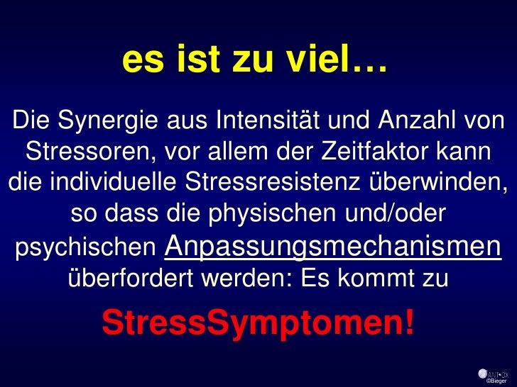 es ist zu viel… Die Synergie aus Intensität und Anzahl von  Stressoren, vor allem der Zeitfaktor kann die individuelle Str...