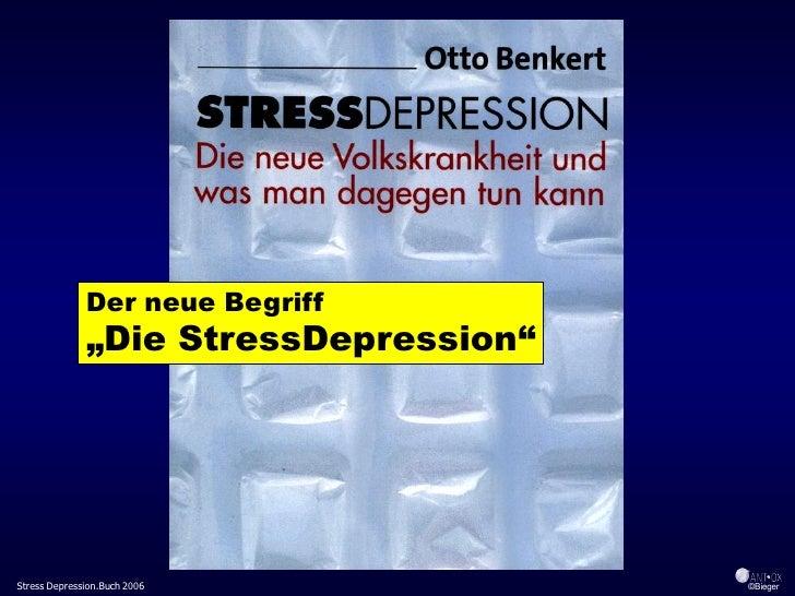 """Der neue Begriff               """"Die StressDepression""""     Stress Depression.Buch 2006            ©Bieger"""