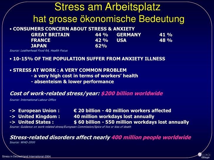 Stress am Arbeitsplatz                          hat grosse ökonomische Bedeutung       • CONSUMERS CONCERN ABOUT STRESS & ...
