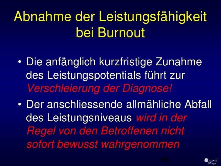 Abnahme der Leistungsfähigkeit         bei Burnout  • Die anfänglich kurzfristige Zunahme   des Leistungspotentials führt ...