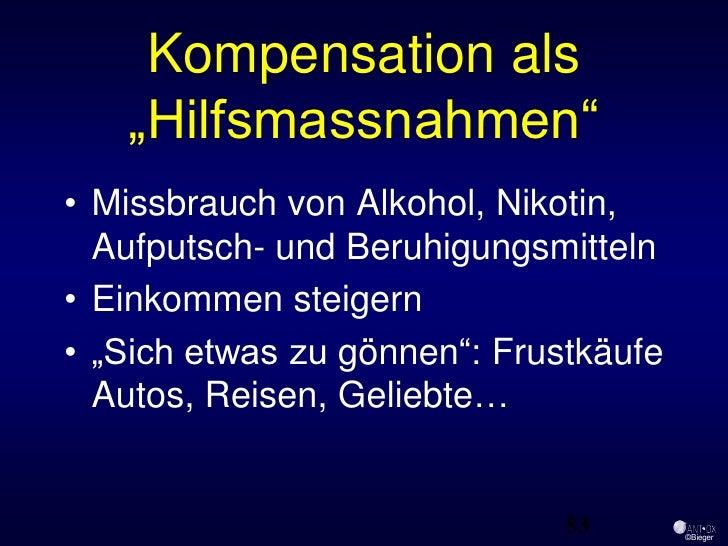 """Kompensation als    """"Hilfsmassnahmen"""" • Missbrauch von Alkohol, Nikotin,   Aufputsch- und Beruhigungsmitteln • Einkommen s..."""