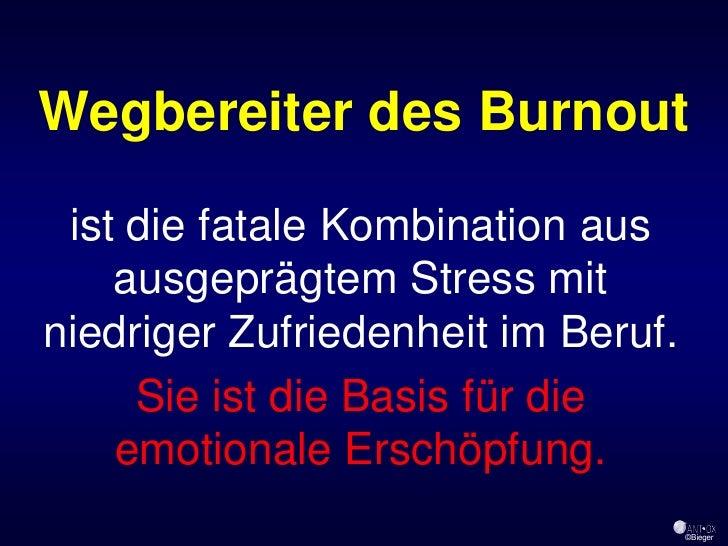 Wegbereiter des Burnout   ist die fatale Kombination aus     ausgeprägtem Stress mit niedriger Zufriedenheit im Beruf.    ...