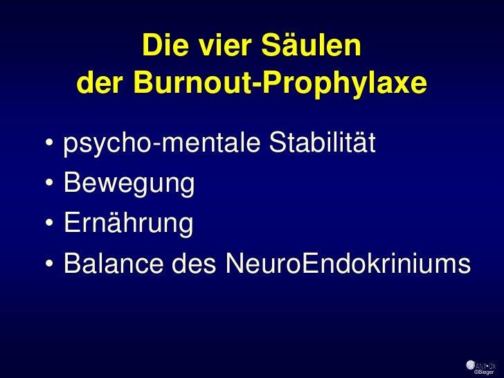 Die vier Säulen     der Burnout-Prophylaxe •   psycho-mentale Stabilität •   Bewegung •   Ernährung •   Balance des NeuroE...