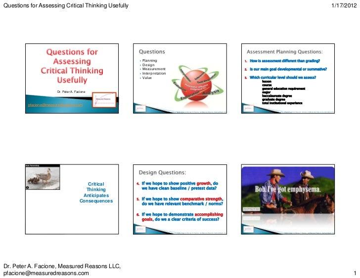 peter facione critical thinking skills