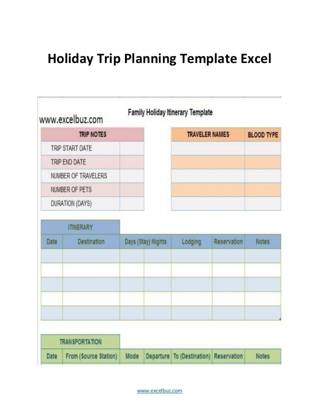 Useful Business Itinerary Templates