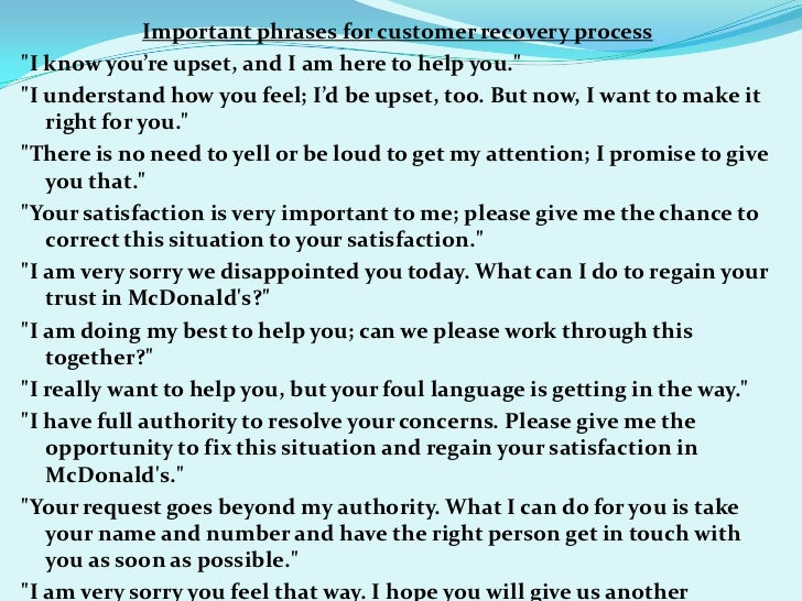 customer service sentences