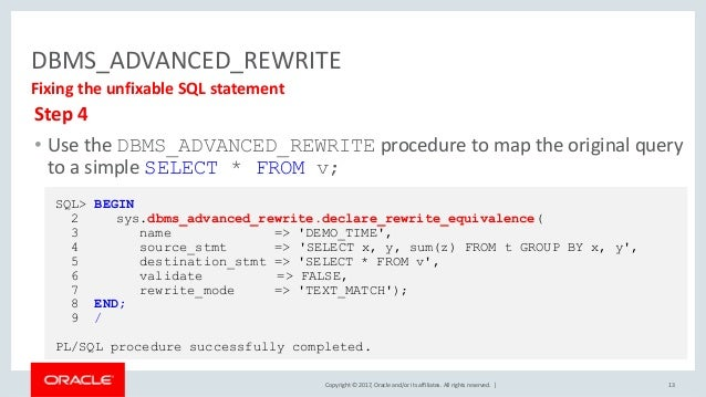 Copyright © 2017, Oracle and/or its affiliates. All rights reserved. | DBMS_ADVANCED_REWRITE 13 Fixing the unfixable SQL s...