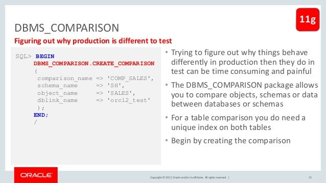 Copyright © 2017, Oracle and/or its affiliates. All rights reserved. | DBMS_COMPARISON • Trying to figure out why things b...