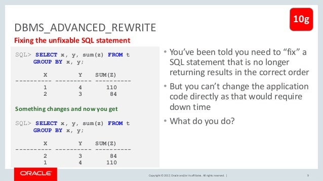 Copyright © 2017, Oracle and/or its affiliates. All rights reserved. | DBMS_ADVANCED_REWRITE 9 Fixing the unfixable SQL st...