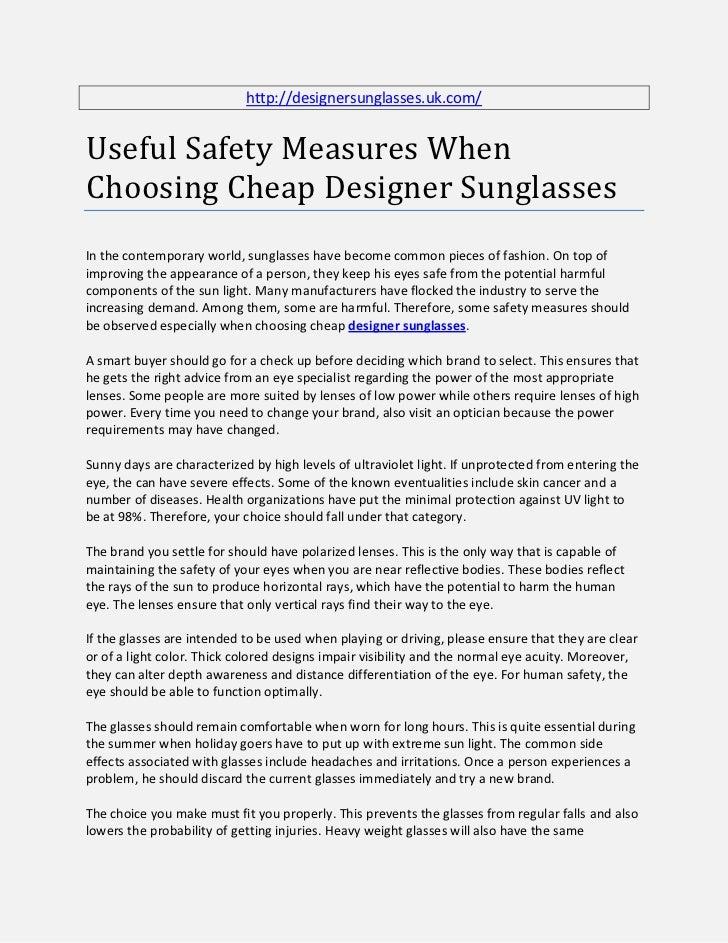 http://designersunglasses.uk.com/Useful Safety Measures WhenChoosing Cheap Designer SunglassesIn the contemporary world, s...