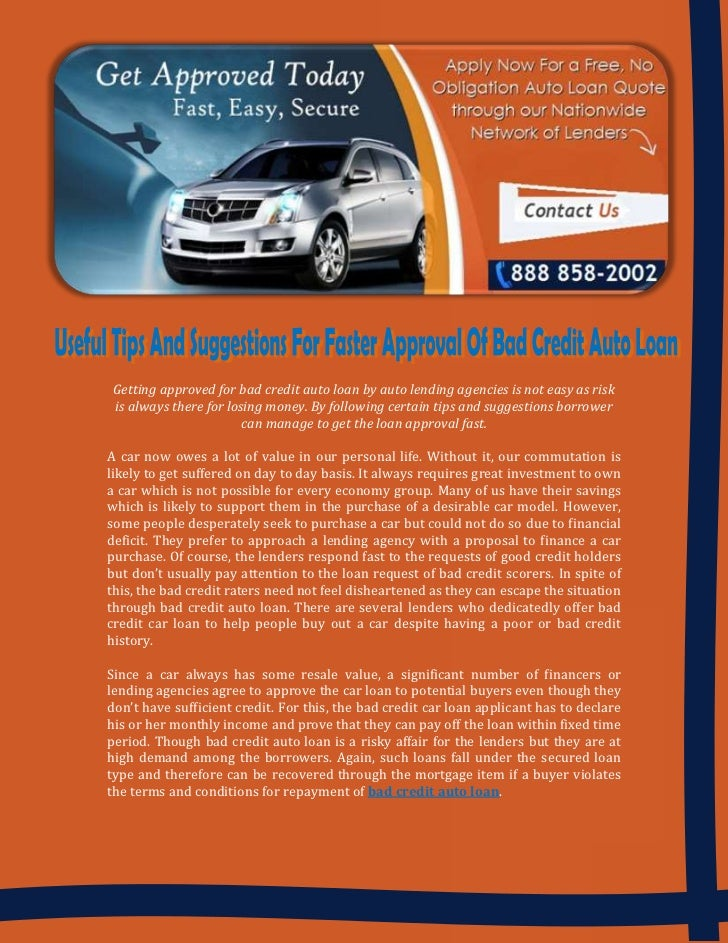 No Credit Auto Loans >> Useful Tips And Suggestions For Faster Approval Of Bad
