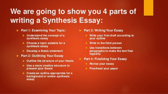 parts of synthesis essay Synthesis means putting ideas from many sources together in one essay or presentation after reading several books, watching movies and participating in a variety of.