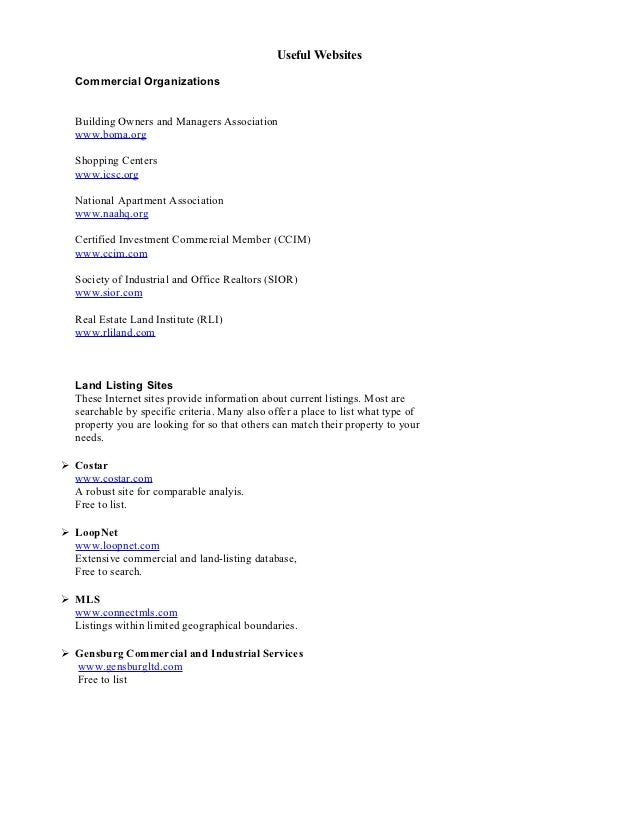 Useful Websites  Commercial Organizations  Building Owners and Managers Association  www.boma.org  Shopping Centers  www.i...