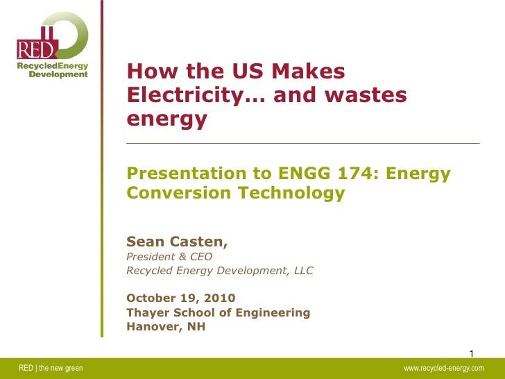 RED | the new greenwww.recycled-energy.com<br />1<br />How the US Makes Electricity… and wastes energy<br />Present...