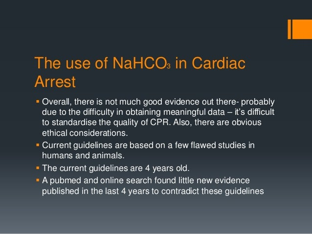Bicarbonate use in cardiac arrest and shock
