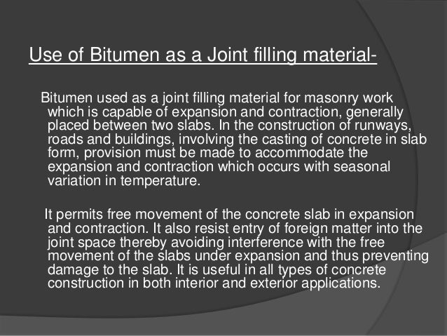Use Of Bitumen In Tank Foundation And As A Joint Filling