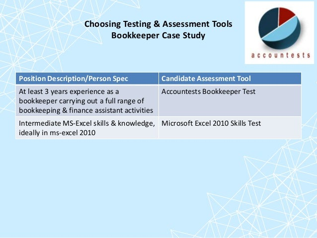 Use of candidate testing and assessment in accounting