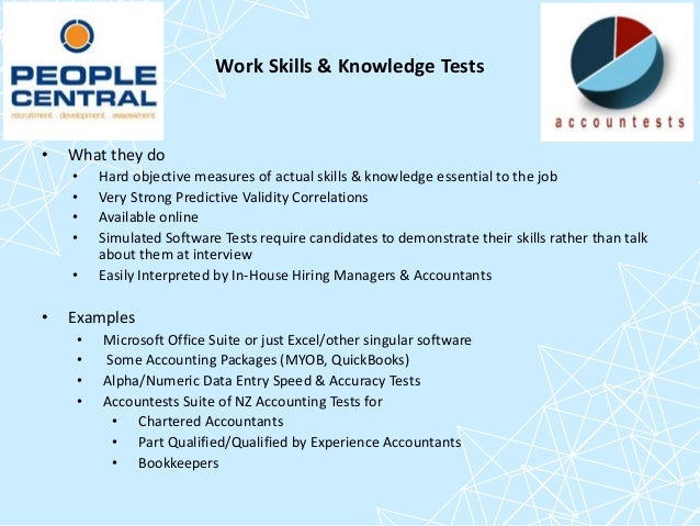 Use of candidate testing and assessment in accounting recruitment