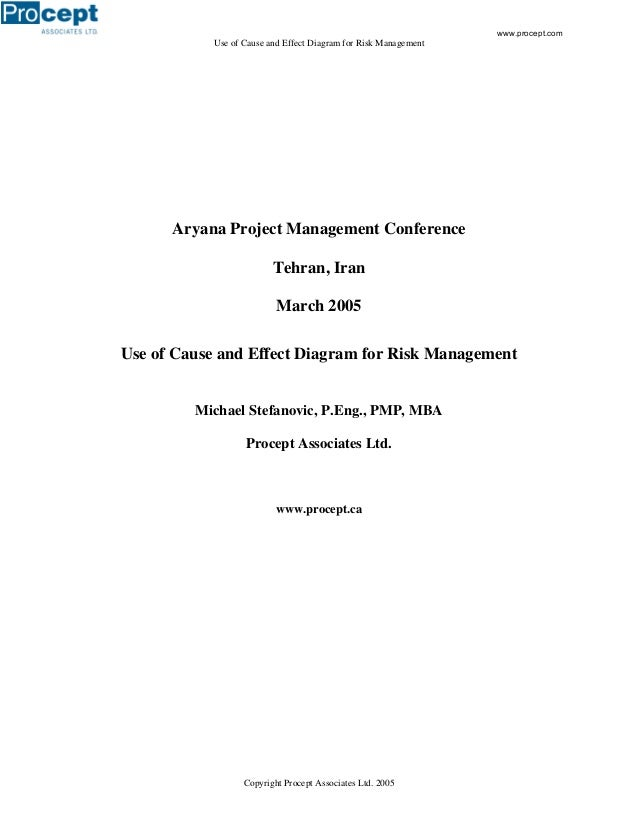 Use of Cause and Effect Diagram for Risk Management Copyright Procept Associates Ltd. 2005 Aryana Project Management Confe...