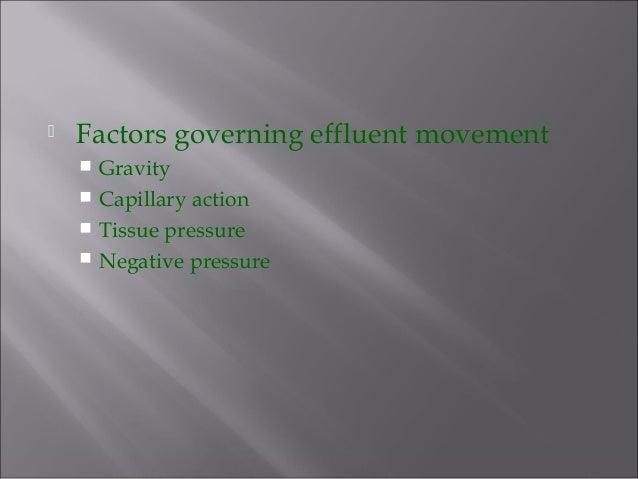  Factors governing effluent movement  Gravity  Capillary action  Tissue pressure  Negative pressure