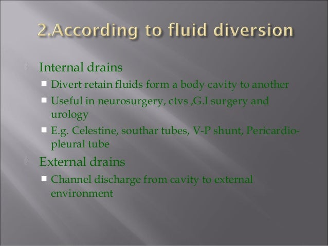  Internal drains  Divert retain fluids form a body cavity to another  Useful in neurosurgery, ctvs ,G.I surgery and uro...