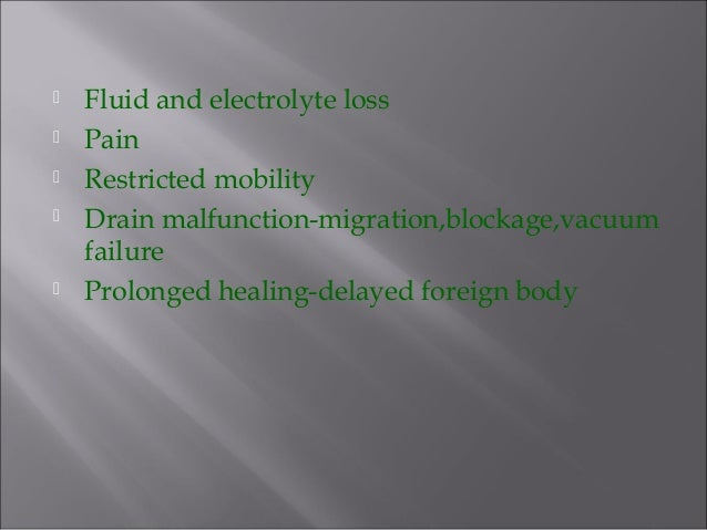  Fluid and electrolyte loss  Pain  Restricted mobility  Drain malfunction-migration,blockage,vacuum failure  Prolonge...