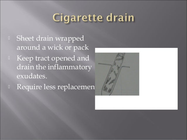  Sheet drainage  Simple insertion, care and removal .  Not expensive.  Tissue irritant.