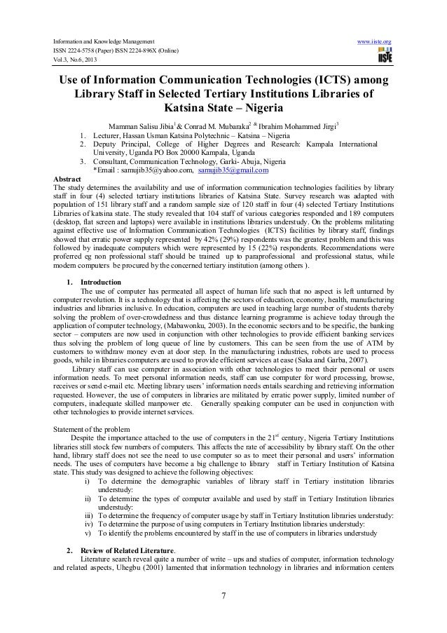 Information and Knowledge Management www.iiste.org ISSN 2224-5758 (Paper) ISSN 2224-896X (Online) Vol.3, No.6, 2013 7 Use ...