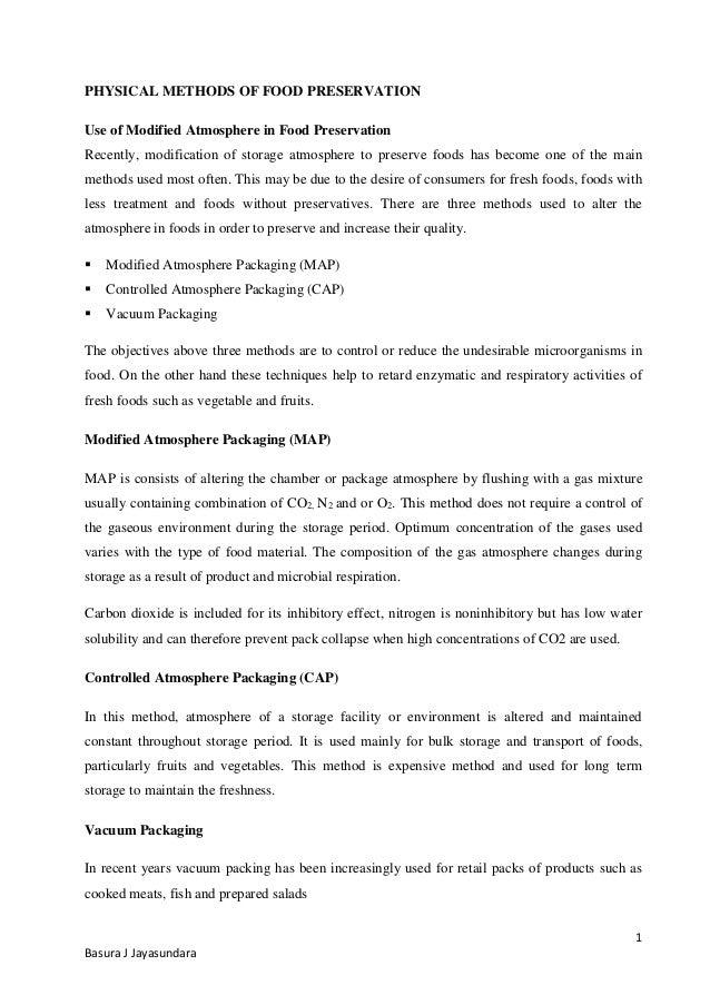 1 Basura J Jayasundara PHYSICAL METHODS OF FOOD PRESERVATION Use of Modified Atmosphere in Food Preservation ...  sc 1 st  SlideShare & Modified atmosphere in food preservation