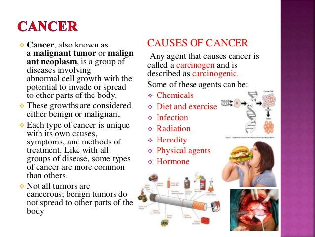  Cancer, also known as a malignant tumor or malign ant neoplasm, is a group of diseases involving abnormal cell growth wi...