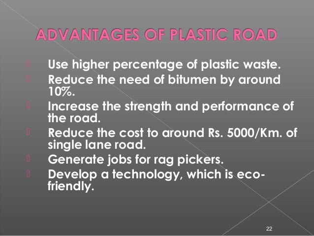 Use of plastic waste in road construction.