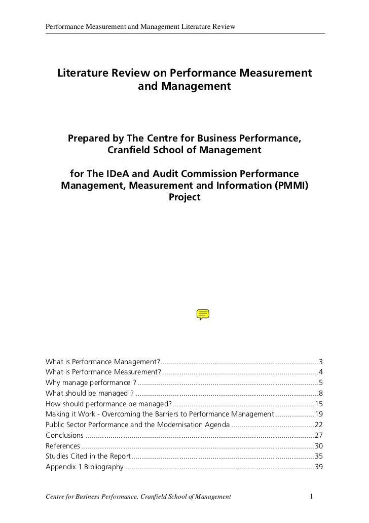 Performance Measurement and Management Literature Review     Literature Review on Performance Measurement                 ...