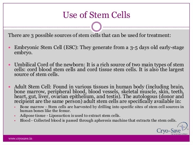 Use of Stem Cells by Cryo-save India