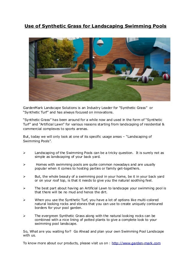 """Use of Synthetic Grass for Landscaping Swimming Pools GardenMark Landscape Solutions is an Industry Leader for """"Synthetic ..."""