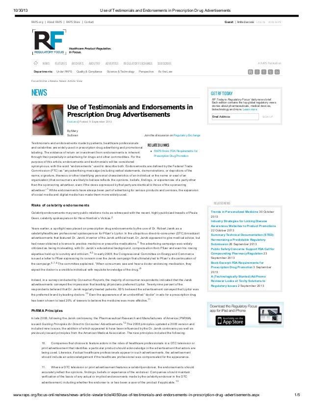 Use of testimonials and endorsements in prescription drug