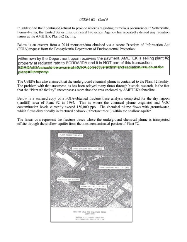 USEPA BS - Cont'd  In addition to their continued refusal to provide records regarding numerous occurrences in Sellersvill...