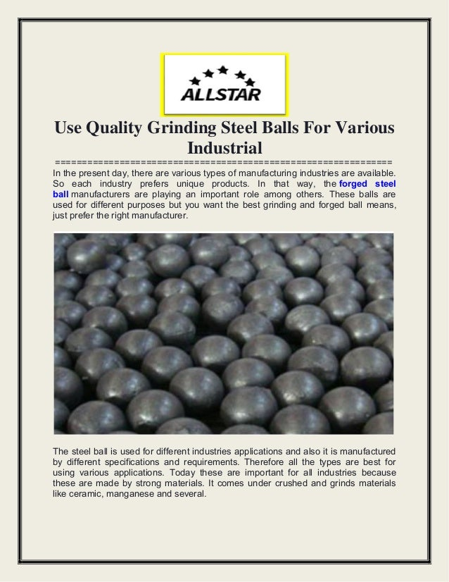 Use Quality Grinding Steel Balls For Various Industrial =============================================================== In...