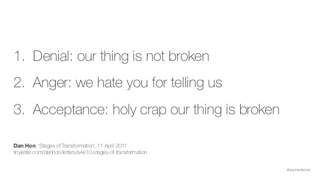 @sophiedennis 1. Denial: our thing is not broken 2. Anger: we hate you for telling us 3. Acceptance: holy crap our thing i...