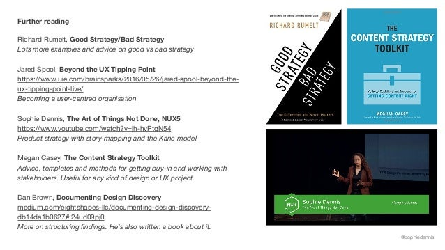 @sophiedennis Further reading Richard Rumelt, Good Strategy/Bad Strategy Lots more examples and advice on good vs bad stra...