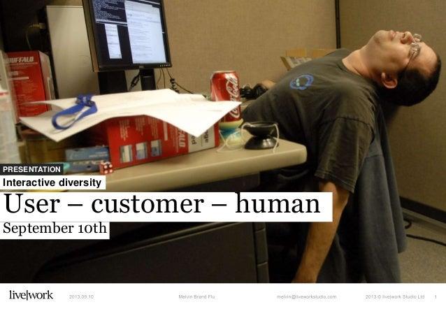 PRESENTATION User – customer – human September 10th Interactive diversity