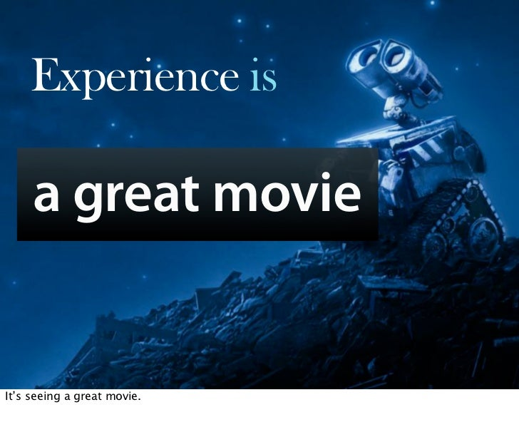 Experience is       a great movie           Oct 21, 2008 N. Nyman Oy niko@nnyman.com   It's seeing a great movie.