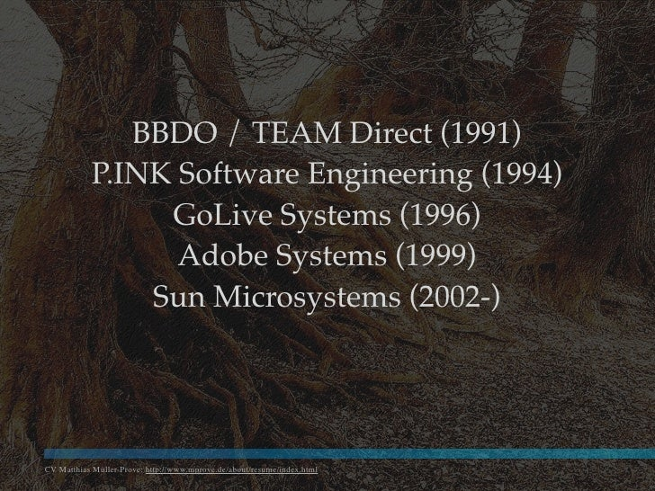 BBDO / TEAM Direct (1991)            P.INK Software Engineering (1994)                 GoLive Systems (1996)              ...