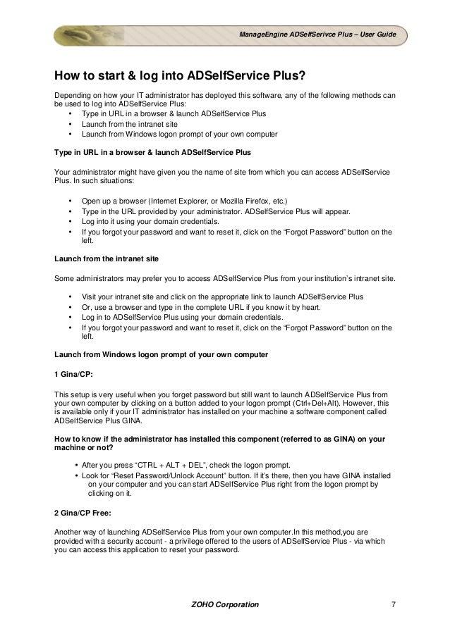ADSelfService User guide