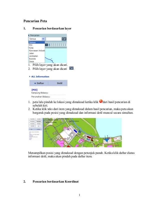 Pencarian Peta 1.  Pencarian berdasarkan layer  1. Pilih layer yang akan dicari. 2. Pilih layer yang akan dicari  .  1. pe...