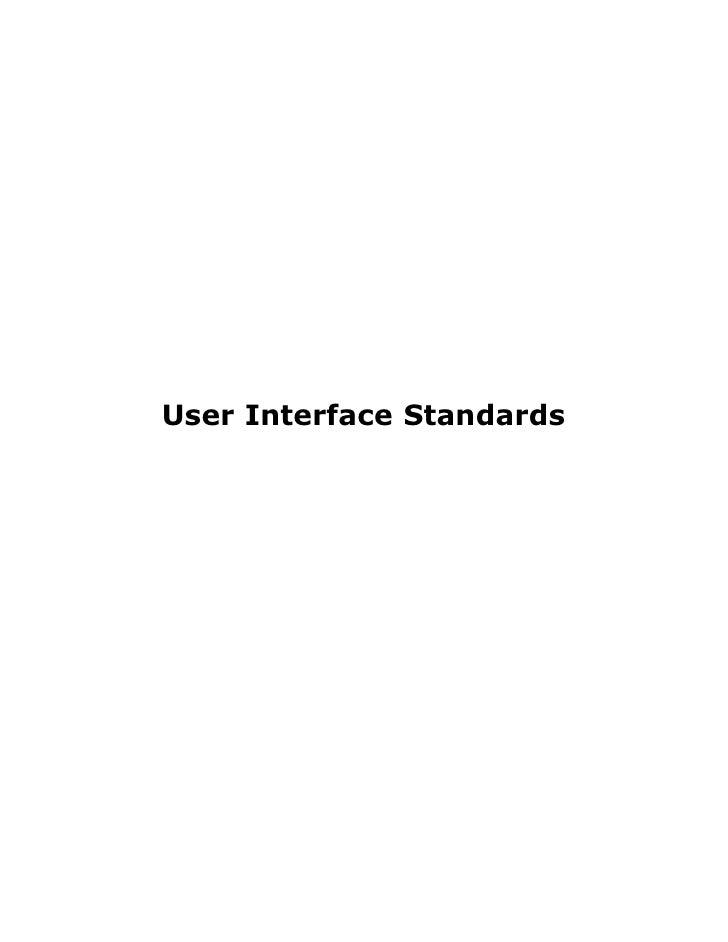 User Interface Standards