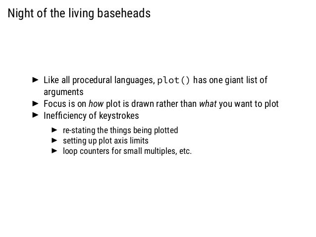 Night of the living baseheads Like all procedural languages, plot() has one giant list of arguments Focus is on how plot i...