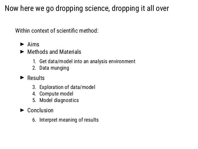 Now here we go dropping science, dropping it all over Within context of scientific method: Aims Methods and Materials 1. Ge...