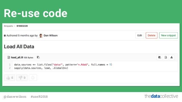 thedatacollective@danwwilson #useR2018 Re-use code