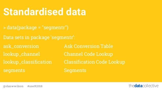 "thedatacollective@danwwilson #useR2018 Standardised data > data(package = ""segmentr"") Data sets in package 'segmentr': ask..."